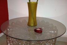 Reciclaje con botella de vidrio