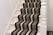 Black & White Stripe Stair Carpet As Runner / Client: Private Residence in North West London Black & White Stripe , 100% wool carpets on Stairs as Runner, with Stair-rods.