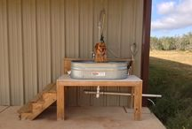 Dog bathing station