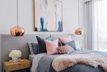 Moodboard: Pink and Grey Bedrooms