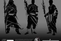 Concept Artwork / Silhouettes and Tonals of Incarnate Games assets for TBA tabletop game!
