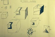 10 000 cubes / Drawing is about basic mark makin first, or so they tell me.  Then you need to work with basic shapes. To that end I challenged myself to draw 10 000 cubes.   This board tracks my progress