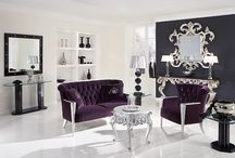 Palette: Purple Cream & Silver / Purple, cream and silver is a sophisticated feminine look ideal for bathrooms and bedrooms, or any other room that could use a woman's touch. The purple you choose is interchangeable here, try plum for a bold statement or dusty lavender for a calmer feeling. Silver accessories add glamour to a purple and cream space, and furniture or wood floors in espresso stains integrate beautifully.