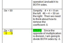 Solving Equations / Step by step examples for solving equations.