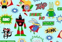 Superhero by Illustration Ink / Shannon Fabrics Licensed Collections- Robert Kaufman Cuddle.  Superhero - Don your best cape and mask and get ready to fly away with the newest line of Robert Kaufman Cuddle. Look up in the sky, it's a bird, it's a plane, it's Superhero!!! Join Shannon in fighting a never ending battle for truth, justice, and the Cuddle way.