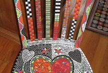 Mosaic-tables and chairs