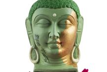 Buddha Head in Different Shades of Green