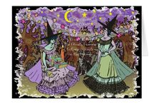 Halloween Themed Cards at Three Cats Graphics' Zazzle Shop / Customizable Halloween themed greeting cards from Three Cats Graphics' Zazzle Shop.