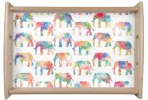 Animal Print watercolor Serving Trays