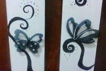 Dipticos en relieve / Dipticos pintados en madera y  con relieve, mariposas hechas con placas de radiografias