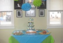 Blue and Green Baptism and First Birthday Party