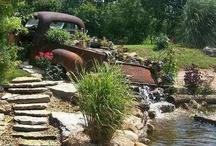 Old trucks in garden