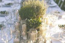 Borddækning og bordpynt til bryllup