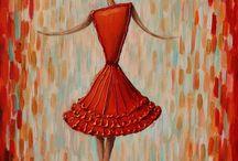 Dancing girl / Girl in red dancing