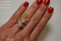 CZ Engagement Ring Hand Shots & Stone Size Comparisons / CZ engagement rings, promise rings, anniversary rings, and solitaires set with the finest quality cubic zirconias. Handmade rings custom made to your exact ring size in 925 sterling silver and Argentium silver. Affordable, beautiful, conflict free diamond simulant rings made just for you!  Available at TradecraftJewelry.com & Tradecraft.Etsy.com