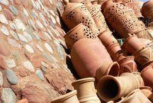 Morocco and terra Cotta / pots, walls, doors, door ways, buildings, tile morocco style - textiles, jewelry, art, cooking