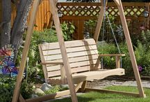 Garden Swings & Pergolas / Fine Quality Garden Furniture -- Garden Swings and Pergolas, garden swings typically are Porch, A-frame, or Canopy swings primarily intended for adults and made from Western Red Cedar.  Large framed structures with swings for outdoor gardens. Buy at www.CoolPointLanding.com