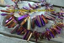Titanium Coated Natural Quartz Crystal Graduated Points Direct from Factory for Jewelry  / Titanium Coated Quartz Crystals Graduated Points has combined nature and science to bring some of the most vibrant colors available to the world of minerals and jewelry. Through a process called magnetron ionization, we are able to bind the titanium coating to the quartz crystal. Now available direct from the Manufacturers From nathaan-gem-Jewelry