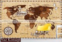 dünya haritası desenli duvar kağıtları