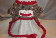 Sock Monkey Hat & Mittens / Hand crocheted by myself.  Acrylic yarn.  Size: Newborn.  Made in a smoke free, pet free environment. / by Christina M. Lee Designs