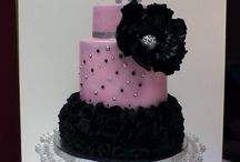 Pink/ black cakes