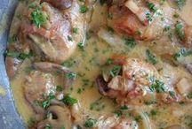 pollo con champiñones y nata