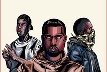 Clique / Draw three american major rapper. Kanye west, jay z , and bigsean.