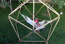 Bambudomo 1v 4 mts diametro / domo geodésico de bambu frecuencia 1V 4 mts de diametro