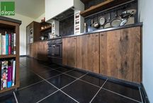 Kitchens by Di Legno / Inspirational images of kitchen flooring and kitchen cabinets of aged wood.