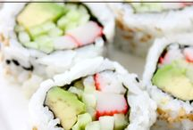 Sushi, japanese and spring roll