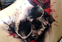 tatuAjes calaveras en muslo