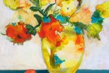 Painting Flowers in mixed media from imagination online class / Online class on painting demos.com by Sandrine Pelissier