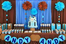 Blue & Brown Polkadots Party / Blue and brown Polkadots baby shower and christening themed party