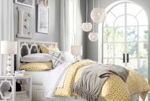 Grey and yellow themed room