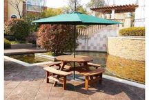 Wooden Garden Bench Furniture Set 8 Seater Pub Picnic Table Chairs Outdoor Patio
