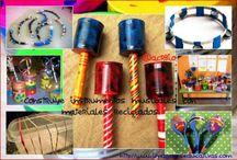 Instrumentos Musicales / Colección de Imágenes con diferentes Instrumentos Musicales, fabricados con materiales reciclados