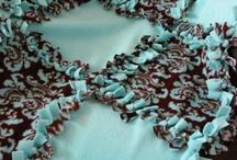 Blanket  beatiful brown flower blue