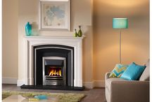 Fireplace Collection Brochure / Room set images of fireplaces, hearths mantels, fires, stoves,