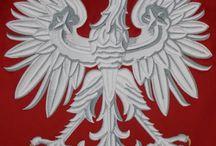 ORZEŁ BIAŁY - GODŁO RP - POLSKIE ORŁY HISTORYCZNE / Haftowane godło polski i różne historyczne orły polskie