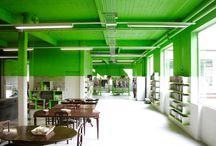 Projet - *Dansaert II* / Création de peintures murales contemporaines et réaménagement des bureaux administratifs d'un centre d'entreprise ) Bruxelles