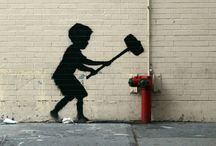 Banksy... / Graffiti in the City...see what I did there? / by Monique Bonfiglio Doughty