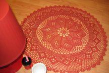 Pretty Doily Variations Crocheted diameter 48 cm Red Tomato 100% Cotton