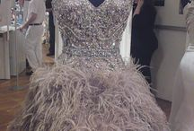 Ostrich feathers dresses