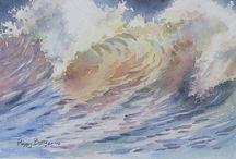 Aquarel strand, landschap e.d.