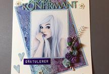 Mine Konfirmasjons kort / Bildene som er brukt er hentet fra Digistamp på fb og her på Pinterest.