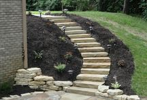 Stone stairs on slope