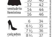 medidas de roupas e calçados