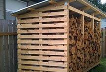 Buiten opslag hout