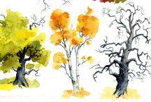 fák rajza festéstech.