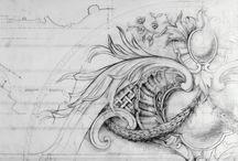 Ornamentika, grotesque, relief, arabesque, fríz, grisaille, cherubs, cartouche